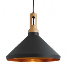 Contemporary pendant | Black with  Gold Inner |Solid Wooden Top